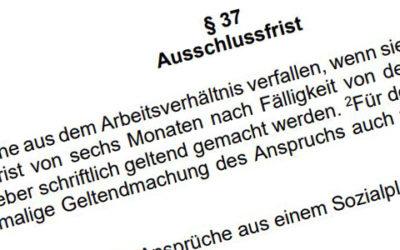 Ansprüche nach § 37 TV-L