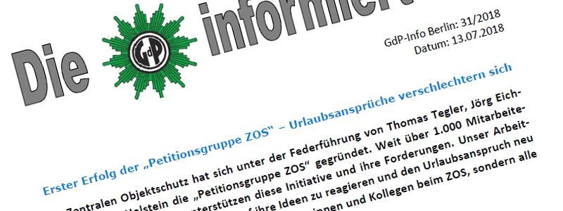 Stellungnahme GdP Info-Schreiben 13.07.2018