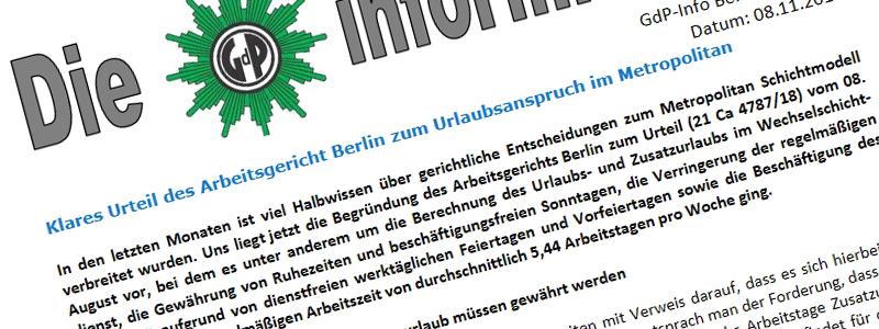 Klares Urteil des Arbeitsgericht Berlin zum Metropolitan